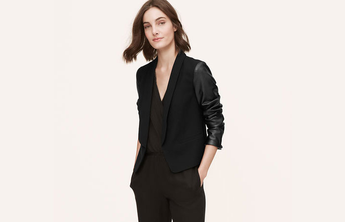 LOFT Faux Leather Sleeve Blazer | ClothesCaptioned