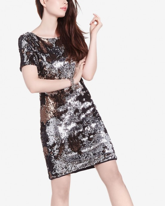 Reitmans Rock & Shine Two-Toned Sequin Dress